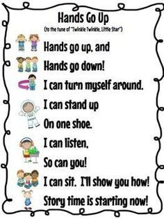 DOMAIN: TRANSITIONS I really like transition songs for toddlers. Toddlers tend to be able to remember songs rather quickly and sometimes as soon as you start singing they will begin to do what ever the song is about. Kindergarten Songs, Preschool Songs, Kids Songs, Kindergarten Classroom, Songs For Preschoolers, Welcome To Preschool, Toddler Classroom, Preschool Goodbye Song, Action Songs For Toddlers