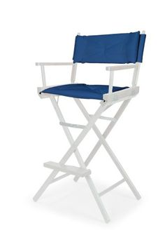 Varnish Heritage Director Chair   Bar Height   Blue W/White Motif Cover
