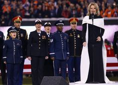 """Super Bowl XLVIII: Opera singer Renée Fleming sings 'The Star-Spangled Banner' -- Adding some """"class"""" to the event ! Renee Fleming, Vera Wang Gowns, Opera News, Star Spangled Banner, Opera Singers, Local Events, National Anthem, Singing"""