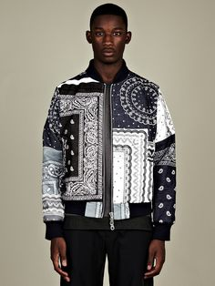 Christopher Shannon Men's Paisley Print Bomber Jacket in blue / white at oki-ni