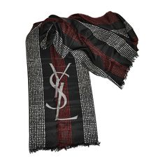 """Huge Yves Saint Laurent Signature YSL Logo """"Polka Dot"""" Silk Scarf 
