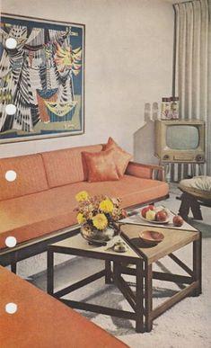 Retro Living Rooms, Vintage Interiors, Interior And Exterior, Mid-century Modern, Condo, Mid Century, Homes, Table, Inspiration