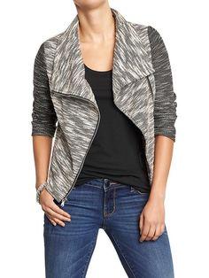 Women's Funnel-Neck Terry-Fleece Jackets Product Image