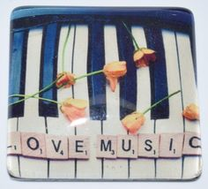 "10 ""Love Music"" 1"" Glass Cabochons - Mosaic Tile Mania"