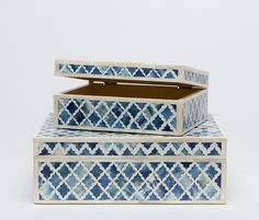Large Hand Painted Bone Box Available in Either White, Grey or Blue Also Available As Small Hand Painted Bone Box 9 Home Decor Accessories, Decorative Accessories, Decorative Objects, Decorative Boxes, Toy Rooms, Blue Box, Made Goods, Home Decor Inspiration, Cool Things To Make