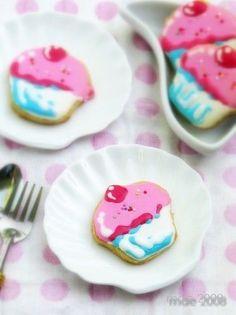 Cupcake-shaped cookies for dessert - yum! #wedding #cookies #weddingdessert #desserttable #diywedding