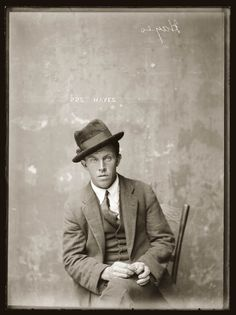 Mug shot inscribed 'Hayes'. No details known. Early 1920s, presumably Central Police Station, Sydney.