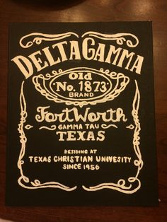 Delta gamma sorority canvas craft DIY. Jack Daniels whiskey