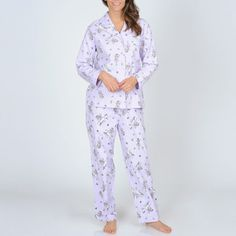 @Overstock - Rest beautifully in this knit pajama set from La Cera. Made with a soft fairy pattern and 100 percent cotton, this pajama set is cozy and feminine.http://www.overstock.com/Clothing-Shoes/La-Cera-Womens-Lilac-Fairy-Print-Flannel-Pajama-Set/7521921/product.html?CID=214117 $41.99