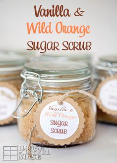 **Vanilla & Wild Orange Sugar Scrub!** Plus FREE tags! So simple to make!  Smells divine, exfoliates, relieves stress and uplifts your mood!  It makes a great gift, to *yourself*, or someone you love. homemade-gifts, sugar-scrub-recipes, beauty, spa, essential-oil-recipes, wild-orange-recipes