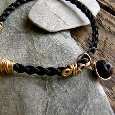 Kumihimo Horsehair Bracelet 24Kt Gold Fill Semi Precious Stones. $125.00, via Etsy.