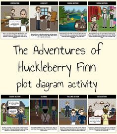 Create visual plot diagrams for The Adventures of Huckleberry Finn! Students can bring each part of the story to life and show off their understanding of the novel. Plot Diagram, Adventures Of Huckleberry Finn, Lesson Plans, Novels, Students, Culture, Activities, How To Plan, Create
