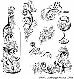Bottle of wine and wine glass with grap - Vector wine design elements. Bottle of wine and wine glass with grap - Wine Craft, Wine Bottle Crafts, Bottle Art, Wine Bottles, Art Du Vin, Coloring Books, Coloring Pages, Colouring, Wood Burning Patterns