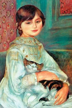 Pierre Auguste Renoir (1841–1919). Julie Manet with Cat, By Pierre-Auguste Renoir.