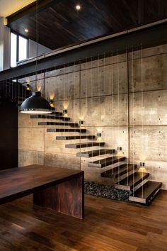 Mayan legend informs Di Frenna Arquitectos' Casa Nicté-Ha in rural Mexico Stair Railing Design, Home Stairs Design, Dream Home Design, Modern House Design, Modern Stairs Design, Staircase Lighting Ideas, Home Lighting Design, Floating Stairs, House Stairs