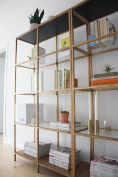Gold Glass or Mirrors on Shelves