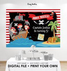 Pirate Backdrop printable backdrop Pirate Birthday Poster