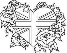 Union Jack and Roses_image Cross Stitch Rose, Cross Stitch Embroidery, Embroidery Patterns, Machine Embroidery, Hand Embroidery, Heart Coloring Pages, Coloring Pages To Print, Coloring Books, Adult Coloring