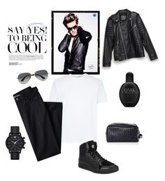 """Dark Obession"" by savycurvesboutique on Polyvore featuring Lands' End, Versace, Emporio Armani, Zara, Calvin Klein, Bottega Veneta, Ray-Ban, men's fashion and menswear"