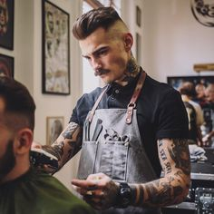 A killer Moustache instead of a full beard is an incredible look to go for. Hairstyles Haircuts, Haircuts For Men, Popular Haircuts, Hair And Beard Styles, Curly Hair Styles, Barber Shop Decor, Beard Haircut, Leather Apron, Moustaches