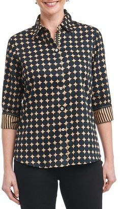 Foxcroft Ava Non-Iron Dot Print Cotton Shirt