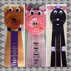 Award ribbon rosettes made by P&B Awards, formerly Kam Awards. A Golden Retriever, a cute pig, and a rat.