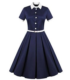 FavorGraces Polo Neck Vintage Casual 50s Retro Swing Dresses Navy 4XL * Click on the image for additional details.
