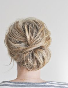50 Easy + Chic Summer Hairstyles For Right Now = Textured messy chignon