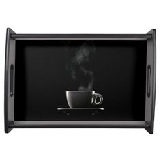 Black Coffee on Black Serving Tray from Siberianmom of Zazzle $46.95