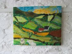 large felt painting textile art mountain view by SueForeyfibreart