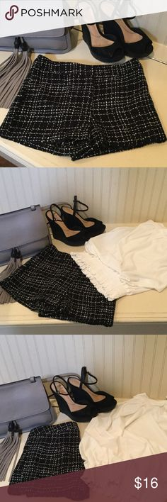 Cute black-and-white tweed lined zip front shorts! Cute black-and-white tweed lined zip front shorts!  White silk sleeveless blouse also featured in my closet and for sale for only $18! Bundle two or more items to receive an additional 10% off! Forever 21 Shorts