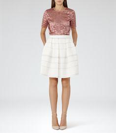 Womens Off White Box-pleat Skirt - Reiss Dolly