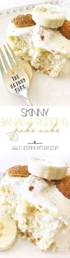 Skinny Banana Pudding Poke Cake! Yep! That's right. I've taken the classic banana pudding and turned it into the cake of your dreams. Yummm. TheSkinnyFork.com | Skinny & Healthy Recipes