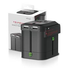 Tripshell World Travel Adapter (Built-in Dual USB) - Black - ELAGO Europe