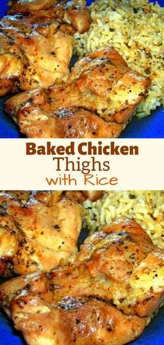 Ingredients: 6 to 8 boneless skinless chicken thighs (You could make this with any parts Chicken Thights Recipes, Chicken Thigh Recipes Oven, Baked Chicken Recipes, Meat Recipes, Healthy Recipes, Cooking Recipes, Oven Chicken, Dinner Recipes, Crockpot Recipes