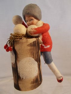 Heubach Pair Boy Girl Throwing Snowballs German Candy Containers | eBay
