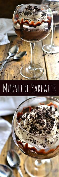 These Mudslide Parfaits have all the flavors of a mudslide cocktail in one decadent dessert! Perfect for date night, ladies night, or a special occasion, these parfaits are SO delicious youll be licking your glass clean! Parfait Desserts, Mini Desserts, No Bake Desserts, Best Dessert Recipes, Delicious Desserts, Yummy Food, Dessert Ideas, Sweet Recipes, Cake Ideas
