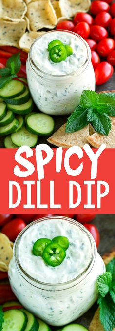 This Spicy Dill Dip makes a fantastic snack or appetizer. Serve it with pita and veggie dippers as an easy make-ahead after school snack or bring it to your next party or potluck! #appetizer #dip #dill #glutenfree #spicy #jalapeno #party #partyfood #snack