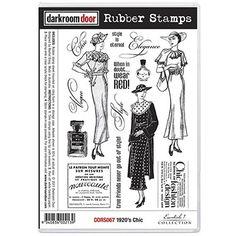Darkroom Door Rubber Stamp Set - 1920's Chic