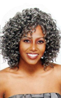 silver curly wigs | Style : Medium length voluminous gypsy curly style. This wig comes pre ...