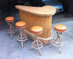 "Fantastic ""bar furniture ideas houses"" info is offered on our internet site. Take a look and you will not be sorry you did. Vintage Bar Stools, Vintage Tiki, Vintage Patio, Bars Tiki, Rattan, Tiki Hut, Tiki Tiki, Mid Century Bar Stools, Tiki Decor"