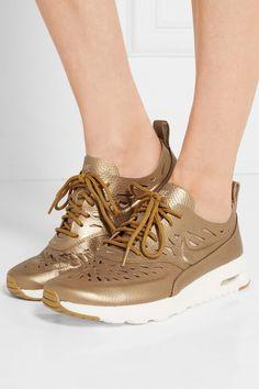 Nike | Air Max Thea Joli metallic cutout textured-leather sneakers | NET-A-PORTER.COM