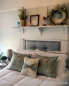 Love this bedroom...the mantle/headboard and the soft blues....perfection