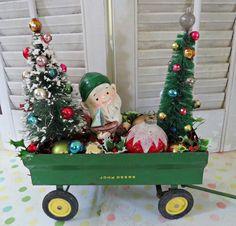Dime Store Chic — Vintage John Deere Cart full of Holiday Cheer