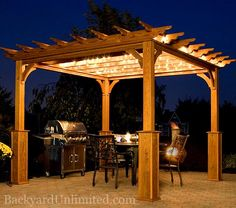 10'x10' Traditional Wood Pergola with Superior Posts and Cedar Stain http://www.backyardunlimited.com/pergolas