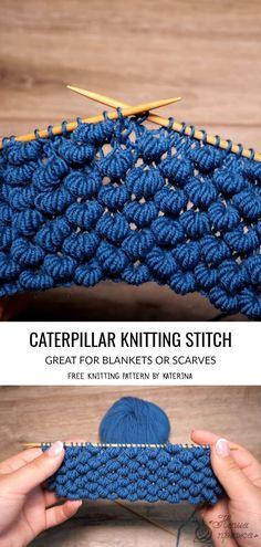 Caterpillar Stitch Knitting Patterns - Crochet - Knitting Instructions and Patterns # Knitting projects knitting projects Knitting Stiches, Sweater Knitting Patterns, Loom Knitting, Free Knitting, Crochet Stitches, Baby Knitting, Crochet Patterns, Knitting Needles, Simple Knitting