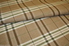 MODERN TARTAN PLAID BROWN OLIVE GREEN & CREAM Upholstery Fabric Flame Retardant