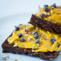 Raw Paleo Brownies with Pumpkin Frosting