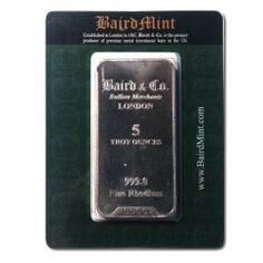 Baird Mint 5 Ounce Rhodium Bar