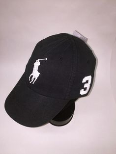 Polo Ralph Lauren BLACKw-WHITE Big Pony Ball Cap~Hat~POLO GOLF CAP a393e9e96744